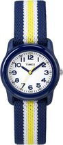 Timex® Kids Blue Case White Dial Blue with Yellow Stripe Strap Quartz Analog Watch