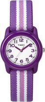 Timex® Kids Purple Case White Dial Purple with Pink stripe Strap Quartz Analog Watch