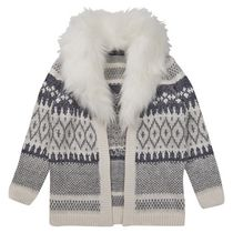 George British Design Girls' Faux Fur Collar Frosted Cardigan 6