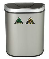 Nine Stars 18.5-Gallon Motion Sensor Recycle Unit and Trash Can - Stainless Steel