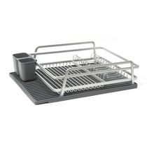 Tada Dish Rack with Dark Grey Silicone Drying Mat