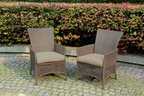 Woven Wicker Patio Dining Chairs with Seat Pads