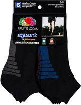 Fruit of the Loom - Boys Sport Ankle - 6 pairs 3-9