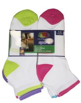 Fruit of the Loom Ladies Ankle with coloured heel and toe- 6 pairs