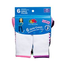 Fruit of the Loom Girls Crew Socks - 6 Pairs
