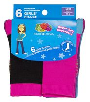 Fruit of the Loom Girls' Core Crew Socks - 6 Pairs 11-4