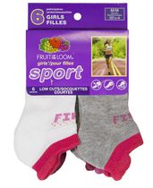 Fruit of the Loom Girls' Sport Low Cut Tabs Socks - 6 Pairs 11-4
