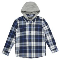 George British Design Boys' Navy Jersey Lined Check Shirt 8
