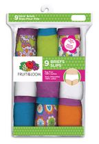 Fruit of the Loom Girls Cotton Brief, 9 pack 12