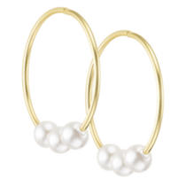 10k Yellow Gold Sleeper Hoop Earrings with Pearls