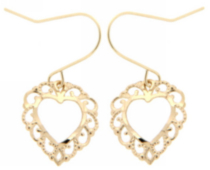 14kt yellow fancy open heart drop earring