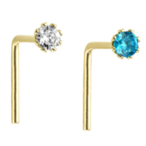 14k Yellow Gold White and Blue Cubic Zirconia Nose Wires