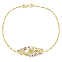 "10k Yellow Gold ""#1 Mom"" Flower Chain Bracelet"