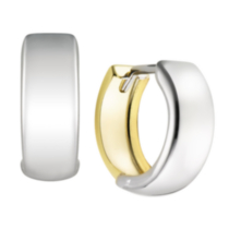 10k Two-tone Gold Hoop Earrings