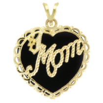 "10k Yellow Gold ""#1 Mom"" Onyx Heart Charm"