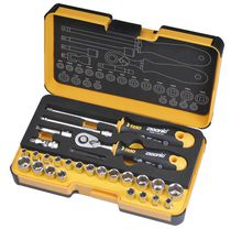 "Felo R-GO ¼"" Ergonic Ratchet - Stubby - Multi-Tools set 27 Pcs Imperial/Metric"
