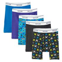 Fruit of the Loom Boys' Print/Solid/Stripe Boxer Briefs, 5-Pack L