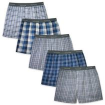Fruit of the Loom Men's Assorted Blues Boxer Shorts, 5-Pack XL/TG