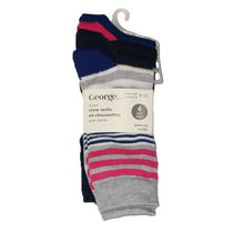 George Ladies' Crew Socks - Pack of 4 Navy