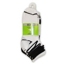 Athletic Works Ladies' Quarter Socks - Pack of 10 Black/White