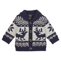 George British Design Baby Boys' Borg Lined Fairisle Cardigan 12-18 months