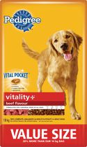 Pedigree Vitality + Beef Flavour for Adult Dog 18kg
