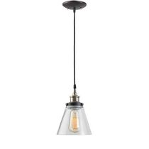 Globe Electric 65215 1 Light Vintage Edison Hanging Pendant Light Fixture, Antique Brass Finish with Glass Shade