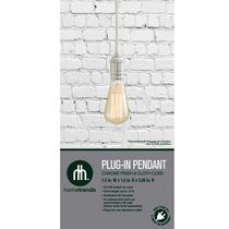 hometrends 1 Light Plug-In Pendant - Chrome Finish with White Cloth Cord