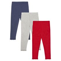 Paq. de 3 leggings George British Design, rouge, pour bambines 3E