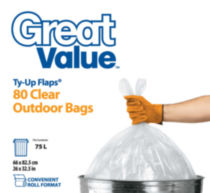Great Value Ty-Up Flaps Clear Outdoor Garbage Bags