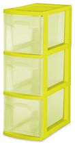 Sterilite Narrow 3 Drawer Tower - LIME PUNCH