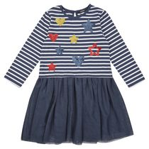George British Design Toddler Girls' Navy Stripe/Heart Dress 4T