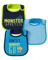 Child of mine made by Carter's  Boys' Monkey Bibs, Pack of 3