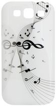 Exian Case for Samsung Galaxy S3, Musical Notes - White