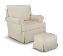 Thomasville Kids Grand Royale Upholstered Swivel Glider and Ottoman Beige