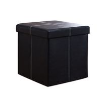 Foldable Storage Ottoman Black