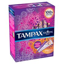 Tampax Radiant Plastic Super Plus Absorbency Unscented Tampons