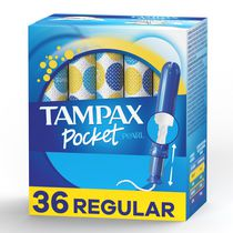 Tampax Pocket Pearl Compact Tampons, Regular Absorbency, Unscented 36 Count