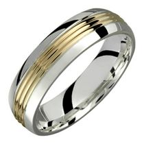 STERLING SILVER AND 10KT GOLD WEDDING BAND 11