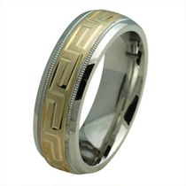 SILVER AND GOLD GREEK KEY MOTIF WEDDING BAND 9.5