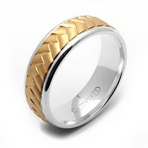 Rex Rings 10KT Yellow Gold Ring with Chevron Design on Sterling Silver Base 10.5