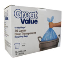 Great Value Ty-Up Flaps® Large Blue Transparent Recycling Bags