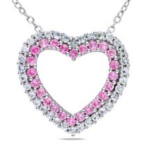 Tangelo 1.38 Carat T.G.W. Created Pink and White Sapphire Diamond-Accent Sterling Silver Heart Pendant, 18""