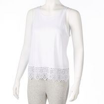g:21 Women's Lace Hem Tank Top White L/G