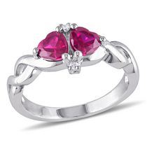 Tangelo 1.17 Carat T.G.W. Created Ruby and Diamond-Accent Sterling Silver Heart Ring 9