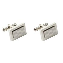 Men's Stainless Steel Checkerboard Cufflinks