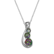 "Sterling Silver Genuine Mystic Topaz Pendant on 18"" Chain"