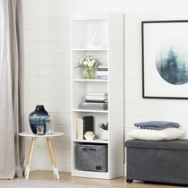 South Shore Axess Étagère étroite 5 tablettes , Blanc solide