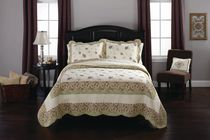Ensemble de Courtepointe Home Trends - Floral/Sauge Très grand lit