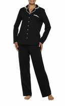 George Women's Long Sleeve Notch Collar Pyjama Set Black 1XL